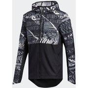 オウン ザ ラン グラフィック ジャケット Own the Run Graphic Jacket FYR58 ブラック/グレーワン/グレーシックス J/Mサイズ [ランニングジャケット メンズ]