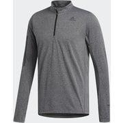 オウン ザ ラン ハーフジップ 長袖Tシャツ Own The Run Half-Zip Tee FYR44 ブラック/ホワイト J/Oサイズ [ランニングシャツ メンズ]