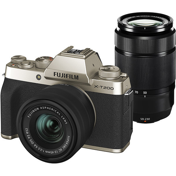 FUJIFILM X-T200 ダブルズームレンズキット シャンパンゴールド [ボディ+交換レンズ「フジノンレンズ XC15-45mmF3.5-5.6 OIS PZ」+「フジノンレンズ XC50-230mmF4.5-6.7 OIS II」]