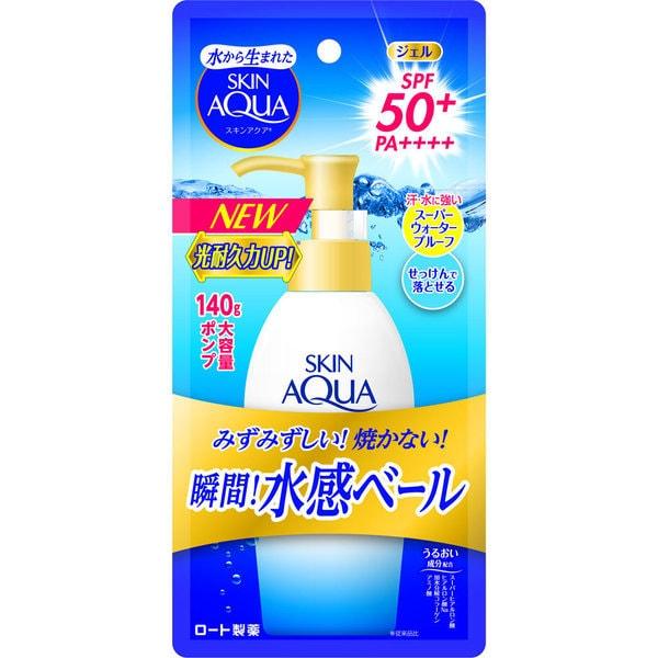 スキンアクア スーパーモイスチャージェル 大容量ポンプ 140ml [日焼け止め 顔・からだ用 SPF50+ PA++++]