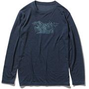 TSウールフィネスプリントクルー TS Wool Finesse Print Crew 5215023 (046)ネイビー Mサイズ [アウトドア シャツ メンズ]