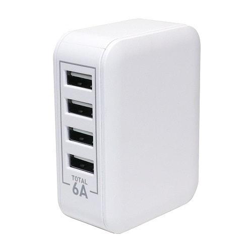 IPA-60U/WH [USB-ACアダプタ 5V/6A対応 4ポート ホワイト]
