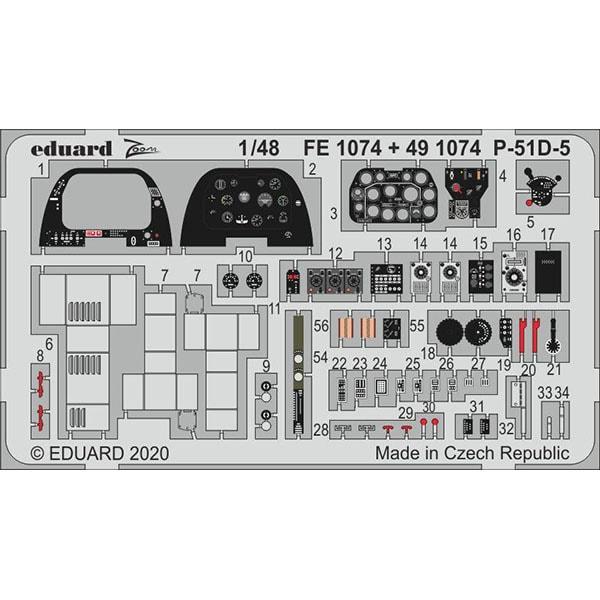 EDUFE1074 P-51D-5 ズームエッチングパーツ エアフィックス用 [1/48スケール エッチングパーツ]