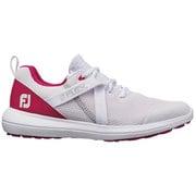 フレックス ウィメンズ ホワイト/ピンク スパイクレスシューズ 22.5cm 幅W レディス 2020年モデル [ゴルフシューズ]