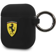 FESACCSILSHBK [Ferrari AIRPOD CASE COVER RING PRINTED SHIELD LOGO BLACK SILICONE]