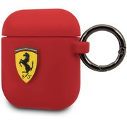 FESACCSILSHRE [Ferrari AIRPOD CASE COVER RING PRINTED SHIELD LOGO SILICONE RED]