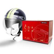 AD-WSJ200-NI [オートバイ用ヘルメット フリーサイズ(57cm~60cm) ジェットタイプ シールド付 ネイビー/アイボリー]