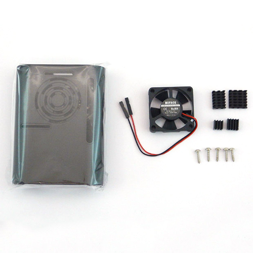 RPI4-CFHBK [Raspberry Pi 4用 ABSケースセット(ケース+ファン+放熱フィン) 黒]
