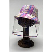 飛沫対策ガード帽子(ジュニア用) ピンクチェック