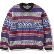 ノルディックハーフドームセーター Nordic Half Dome Sweater NT92036 TNFレッド×TNFブルー(RB) Lサイズ [アウトドア セーター ユニセックス]