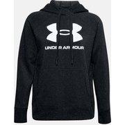 UAライバルフリース ロゴフーディー UA Rival Fleece Logo Hoodie 1356318 002_Black/White/White MDサイズ [フィットネス ジャケット レディース]