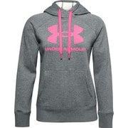 UAライバルフリース ロゴフーディー UA Rival Fleece Logo Hoodie 1356318 012_Pitch Gray Medium Heather/Cerise LGサイズ [フィットネス ジャケット レディース]
