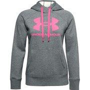 UAライバルフリース ロゴフーディー UA Rival Fleece Logo Hoodie 1356318 012_Pitch Gray Medium Heather/Cerise MDサイズ [フィットネス ジャケット レディース]