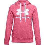 UAライバルフリース ロゴフーディー UA Rival Fleece Logo Hoodie 1356318 668_Pink Lemonade/White/White LGサイズ [フィットネス ジャケット レディース]