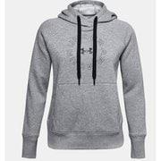 UAライバルフリース メタリック フーディー UA Rival Fleece Metallic Hoodie 1356323 035_Steel Medium Heather/Black/Black SMサイズ [フィットネス ジャケット レディース]