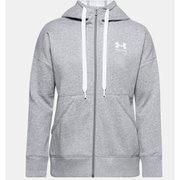 UAライバルフリース フルジップフーディー UA Rival Fleece FZ Hoodie 1356400 035_Steel Medium Heather/White LGサイズ [フィットネス ジャケット レディース]