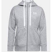 UAライバルフリース フルジップフーディー UA Rival Fleece FZ Hoodie 1356400 035_Steel Medium Heather/White SMサイズ [フィットネス ジャケット レディース]