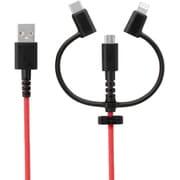 OWL-CBKMLCR20-BKRE [ 3 in 1 Lightningアダプター&USB Type-Cアダプター付き USB Type-A to micro USB 超タフストロング ストレートケーブル 2m ブラック×レッド]
