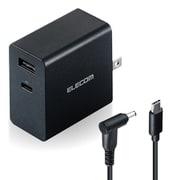 ACDC-PD10525BK [ノートPC用ACアダプター/PD対応/52.5W/Type-C1ポート/USB-Aメス1ポート/GaN(窒化ガリウム)/C-丸型コネクタケーブル付属/2m/ブラック]