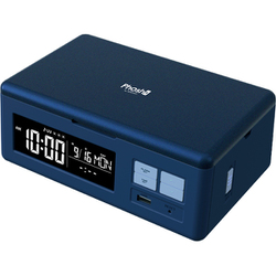 PS-01 [Phosh(フォッシュ) スマートフォンUV除菌/Qi機能+USB充電機能付き/目覚まし時計 ネイビー]
