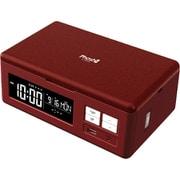 PS-02 [Phosh(フォッシュ) スマートフォンUV除菌/USB充電機能付き/目覚まし時計/クリムゾン]