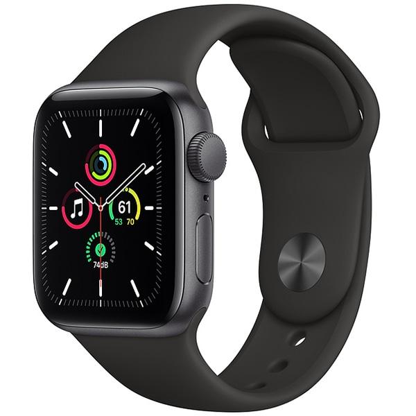 Apple Watch SE(GPSモデル)- 40mmスペースグレイアルミニウムケースとブラックスポーツバンド [MYDP2J/A]
