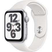Apple Watch SE(GPSモデル)- 44mmシルバーアルミニウムケースとホワイトスポーツバンド [MYDQ2J/A]