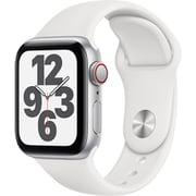Apple Watch SE(GPS + Cellularモデル)- 40mmシルバーアルミニウムケースとホワイトスポーツバンド [MYEF2J/A]