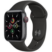 Apple Watch SE(GPS + Cellularモデル)- 40mmスペースグレイアルミニウムケースとブラックスポーツバンド [MYEK2J/A]