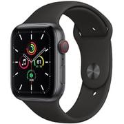 Apple Watch SE(GPS + Cellularモデル)- 44mmスペースグレイアルミニウムケースとブラックスポーツバンド [MYF02J/A]