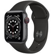 Apple Watch Series 6(GPS + Cellularモデル)- 40mmスペースグレイアルミニウムケースとブラックスポーツバンド [M06P3J/A]