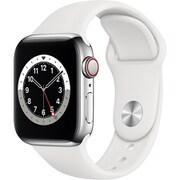 Apple Watch Series 6(GPS + Cellularモデル)- 40mmシルバーステンレススチールケースとホワイトスポーツバンド [M06T3J/A]