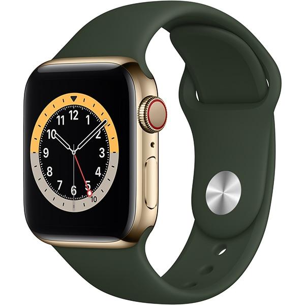 Apple Watch Series 6(GPS + Cellularモデル)- 40mmゴールドステンレススチールケースとキプロスグリーンスポーツバンド [M06V3J/A]