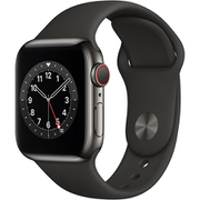 Apple Watch Series 6(GPS + Cellularモデル)- 40mmグラファイトステンレススチールケースとブラックスポーツバンド [M06X3J/A]