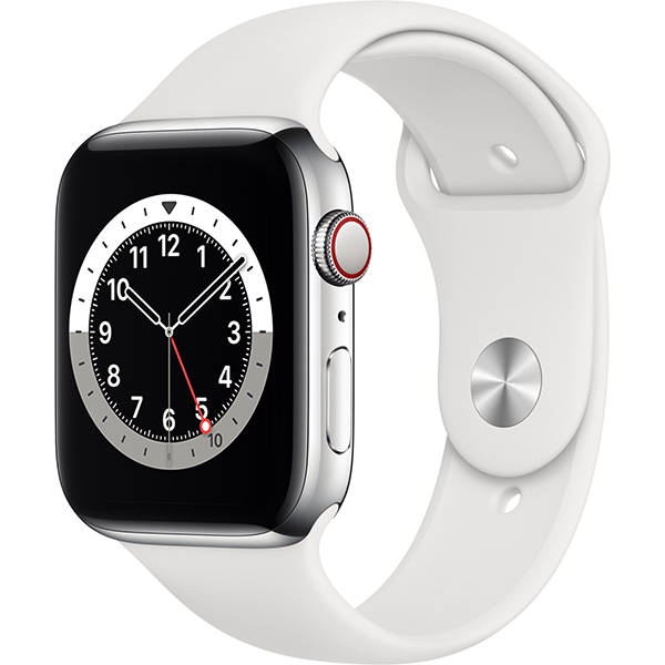 Apple Watch Series 6(GPS + Cellularモデル)- 44mmシルバーステンレススチールケースとホワイトスポーツバンド [M09D3J/A]