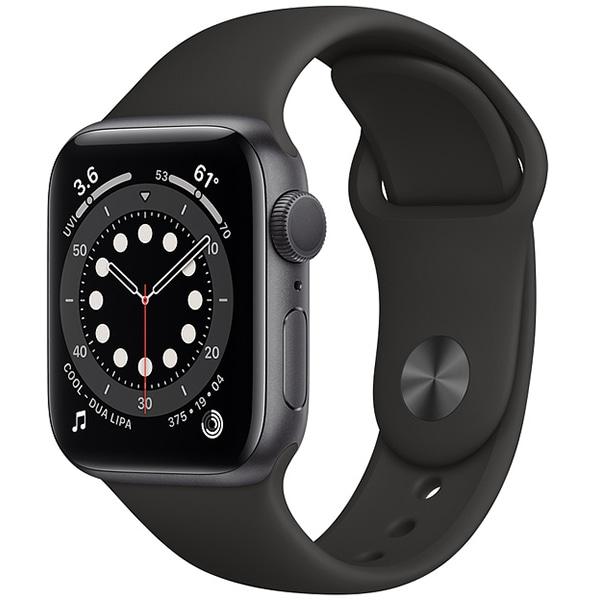 Apple Watch Series 6(GPSモデル)- 40mmスペースグレイアルミニウムケースとブラックスポーツバンド [MG133J/A]