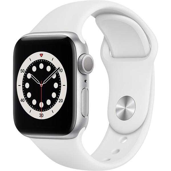 Apple Watch Series 6(GPSモデル)- 40mmシルバーアルミニウムケースとホワイトスポーツバンド [MG283J/A]
