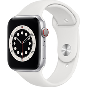 Apple Watch Series 6(GPS + Cellularモデル)- 44mmシルバーアルミニウムケースとホワイトスポーツバンド [MG2C3J/A]
