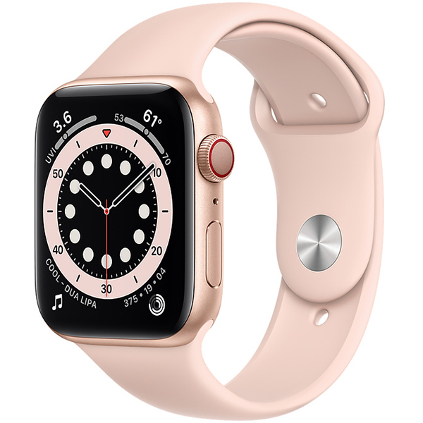 Apple Watch Series 6(GPS + Cellularモデル)- 44mmゴールドアルミニウムケースとピンクサンドスポーツバンド [MG2D3J/A]