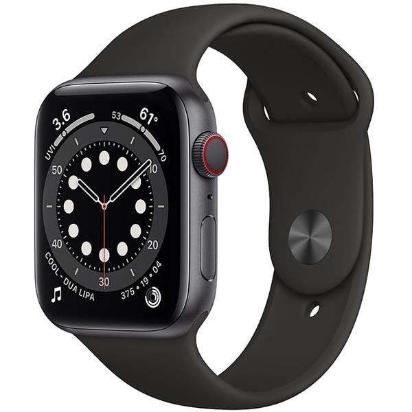 Apple Watch Series 6(GPS + Cellularモデル)- 44mmスペースグレイアルミニウムケースとブラックスポーツバンド [MG2E3J/A]
