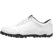 51GQ208591 [ゴルフシューズ ワイドスタイル ライト スパイクレス メンズ ホワイト×ブラック 26.5cm]