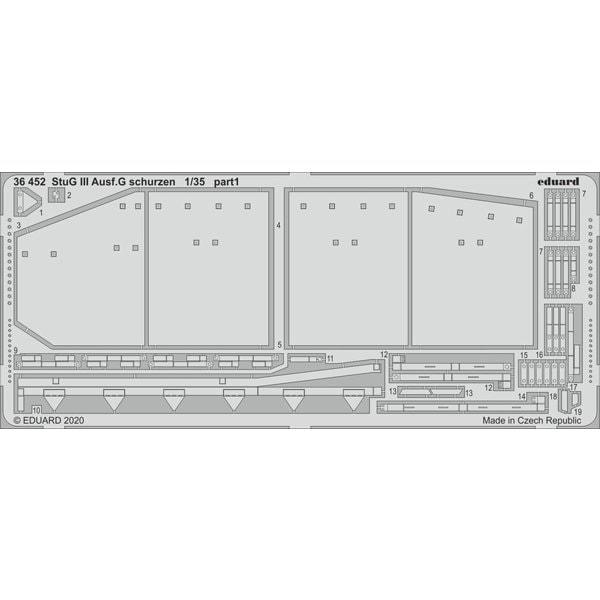 EDU36452 III号突撃砲 G型 初期型 シュルツェン タコム用 [1/35スケール エッチングパーツ]