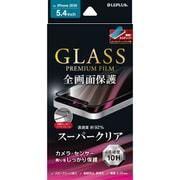 LPIS20FGS [iPhone 12 mini 用 「GLASS PREMIUM FILM」 ガラスフィルム 全画面保護 ソフトフレーム スーパークリア ブラック]