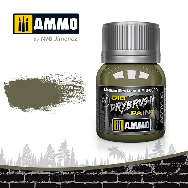 AMO-0609 ダイオ ドライブラシペイント:ミディアムオリーブグリーン [水性ドライブラシ専用塗料]