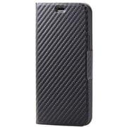 PM-A20BPLFUCB [iPhone 12/iPhone 12 Pro 用 レザーケース/手帳型/UltraSlim/薄型/磁石付き/カーボン調(ブラック)]