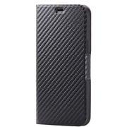 PM-A20CPLFUCB [iPhone 12 Pro Max 用 レザーケース/手帳型/UltraSlim/薄型/磁石付き/カーボン調(ブラック)]