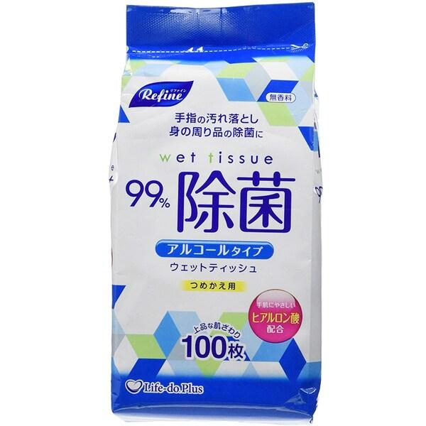 LD-103 [詰め替え用 アルコール除菌 ウエットティッシュ 100枚 リファイン]