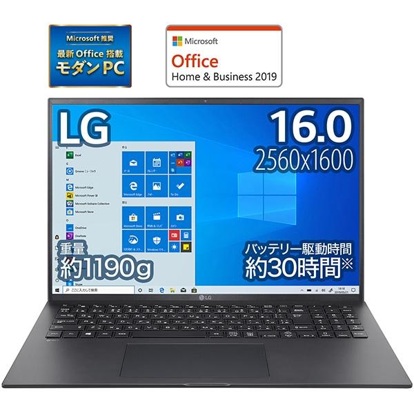 16Z90P-KA78J1 [LG gram 16.0インチノートパソコン/第11世代インテル Core i7/メモリ 16GB/SSD 1TB/Windows 10 Home (64bit)/Microsoft Office Home & Business 2019/オブシディアンブラック]