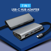 HDX-C7 [7 in 1 Type-C マルチ 変換アダプター ハブ/HDMI - 4K 映像出力/高速USB 3.0ポートx2/USB Power Delivery対応/最大100W本体充電用ポート/SDXC 512GB対応 SD&MicroSD/1Gbps-LAN/Multi HUB]