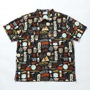 ポーラーパイオニアショートスリーブシャツ Polar Pioneer Short Sleeve Shirt PM6513 Black Camping Print 12 Sサイズ [アウトドア シャツ メンズ]